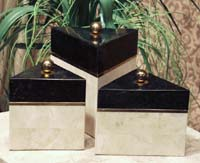 Priszm Box  6.5 Short  100% Natural Inlaid Beige Fossil Stone w/Brass & Black Stone Inlay