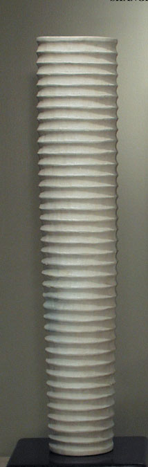 36'' High Hand Carved Solid Wood Mecca Vase, White