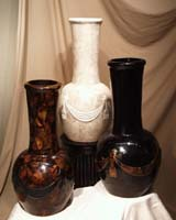 Neo-Classic Vase w/ Drape & Tassel, 100% Natural Inlaid Cracked Young Pen Seashell w/Black Pen Seashell