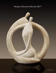 Endless Love Sculpture, Tall, Beige Fossil Stone/White Ivory Stone Finish