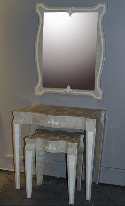 Fleur De Lis Side Table 100% Natural Inlaid Beige Fossil Stone w/White Ivory Stone Inlay