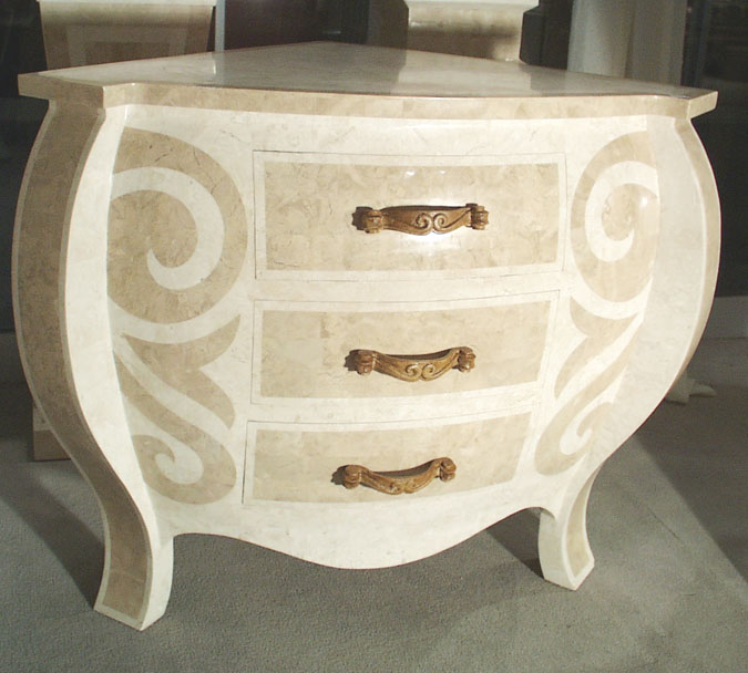 Curl 3-Drawer Corner Chest, Beige Fossil Stone with White Ivory Stone