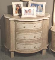 Morgan 3-Drawer Chest, Beige Fossil Stone with White Ivory Stone