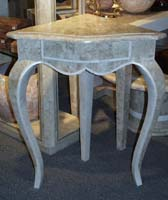 Louis XV 3 Legged Corner Table Beige Fossil Stone with White Ivory Stone