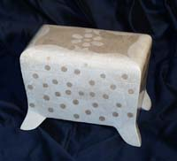 Flora Box, 100% Natural Inlaid White Ivory Stone w/Beige Fossil.Stone Inlay