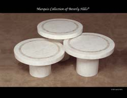 Mushroom Tables, White Ivory Stone with Beige Fossil Stone - (Sold in Set of 3 Only)