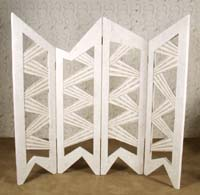 4-Panel Stripes Screen, 100% Natural Inlaid White Ivory Stone with Beige Fossil Stone