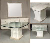 Fluted Occasional Table, White Ivory Stone with Beige Fossil Stone