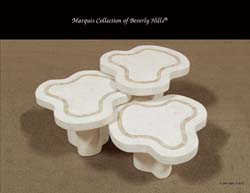 Water Mushroom Tables, White Ivory Stone with Beige Fossil Stone (Set of 3)
