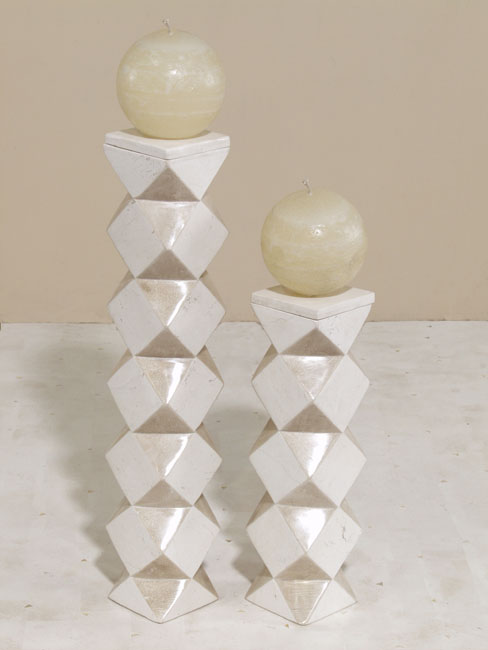 Accordion 2-In-1 Convertible Candleholder/Vase, Tall, White Ivory Stone with Beige Fossil Stone