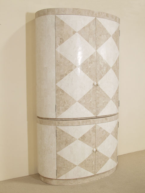 Allure Diamond Armoire - BASE, White Ivory  Stone with Beige Fossil Stone