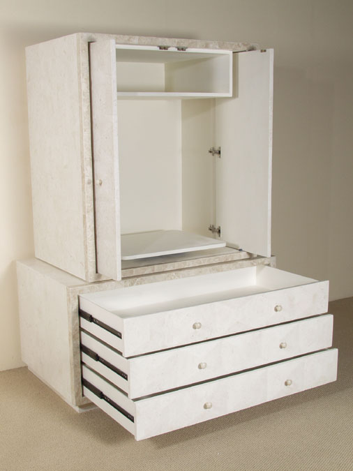 Baguette Armoire - BASE, White Ivory Stone with Beige Fossil Stone