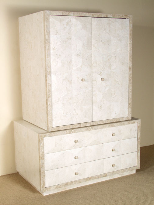 Baguette Armoire - TOP, White Ivory Stone with Beige Fossil Stone