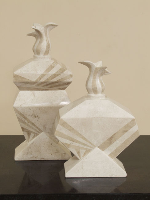 Flame Vase, Tall, White Ivory  Stone with Beige Fossil Stone