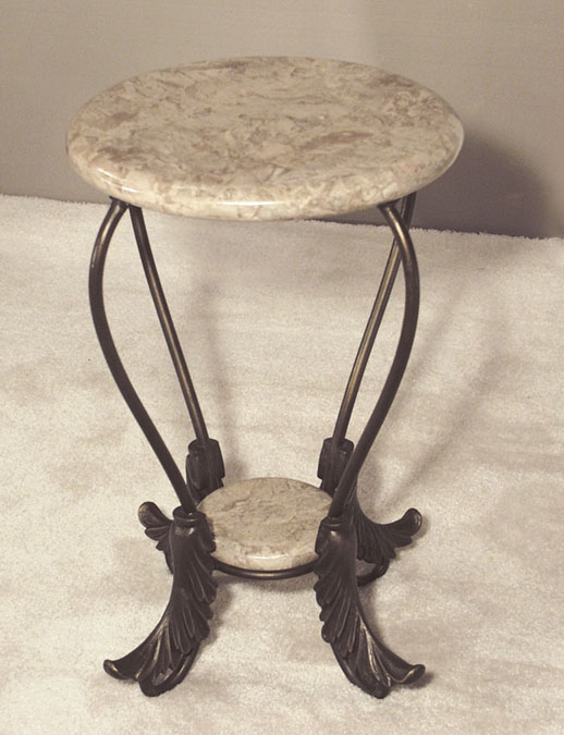 South Seas Side Table, Cantor Stone (with Bull Nose Round Top & Flared Leaf Legs)
