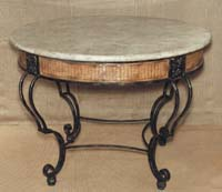 Plantation Round Entry OR Dining Table w/Rattan Weaving Design, 100% Natural Inlaid Cantor Stone Top