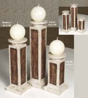 Plantation Candleholder, Small, Inlaid Cantor Stone with Raffia Weaving