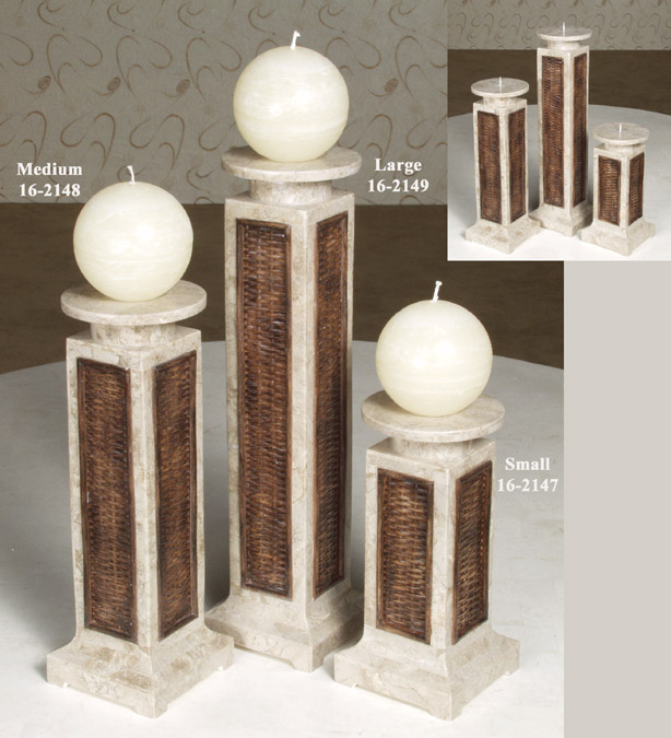 Plantation Candleholder, Large, Inlaid Cantor Stone with Raffia Weaving