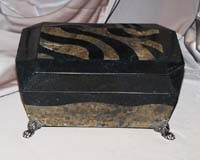 Emmanuel Box Black Stone and Snakeskin Stone with  legs