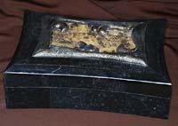 Priscilla Box, Chameleon Box, 100% Natural Inlaid Black Stone with Snakeskin Stone Inlay