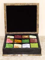 Monroe Tea Box, Black Stone with Snakeskin Stone (Sold with Assorted Flavored Teas)
