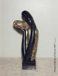 Kissers Couple Sculpture, Black Stone with Snakeskin Stone