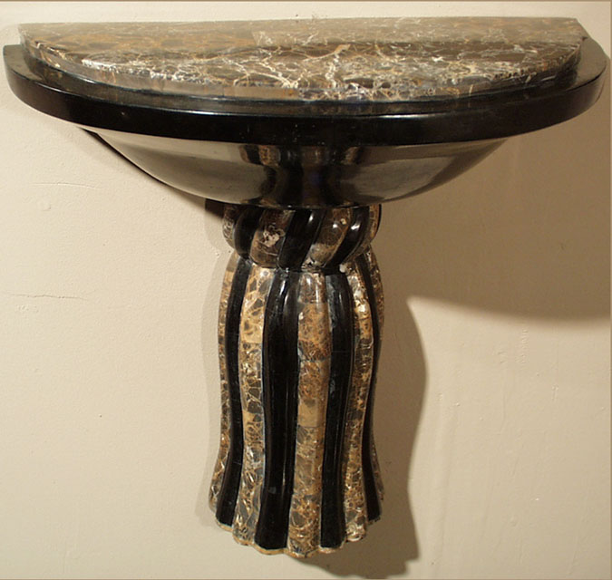 Medium Tassel Wall Bracket Corbel Black Stone with Snakeskin Stone