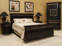 Aristotle Queen Bed Headboard, Black Stone with Snakeskin Stone