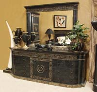 Aristotle Dresser with Greek Key Design, 100% Natural Inlaid Black Stone w/Snakeskin Stone