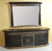 Aristotle Miror Frame with Greek Key Design, LARGE,  100% NATURAL Inlaid & Hand Carved  Black Stone with Snakeskin Stone