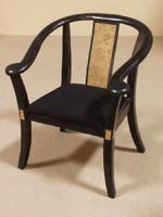 Lito Chair, 100% NATURAL carved Black Stone w/Snakeskin Stone Inlay (PLACE WITH RECEPTION DESK)