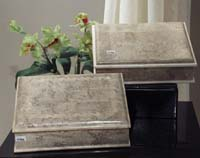 Monroe Box with Scroll Design, Cantor Stone with Beige Fossil Stone