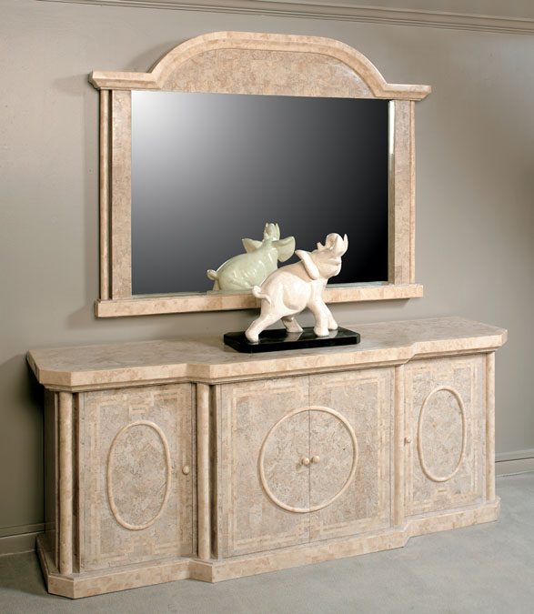 Imperial Mirror Frame, Cantor Stone with Beige Fossil Stone (Mirror Included)
