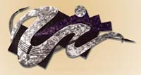 Wave Wall Art Decor Black Stone, Violet Oyster with Stainless Steel