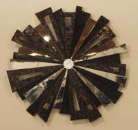 Spotlight Wall Art, Black Stone/Cracked Violet Oyster Seashell/Stainless/Trocca Seashell Finish