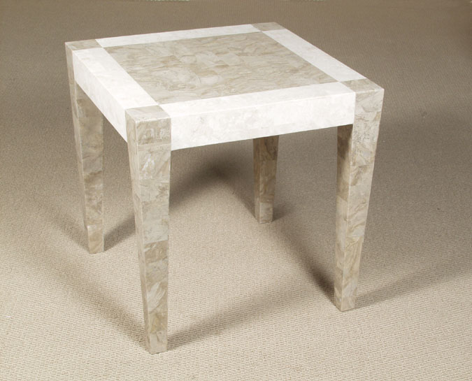 Cube Square Side Table, Cantor Stone with White Ivory Stone