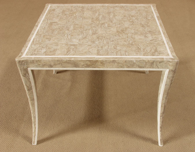 Alexandra Dining/Game Table, Cantor Stone with White Ivory Stone