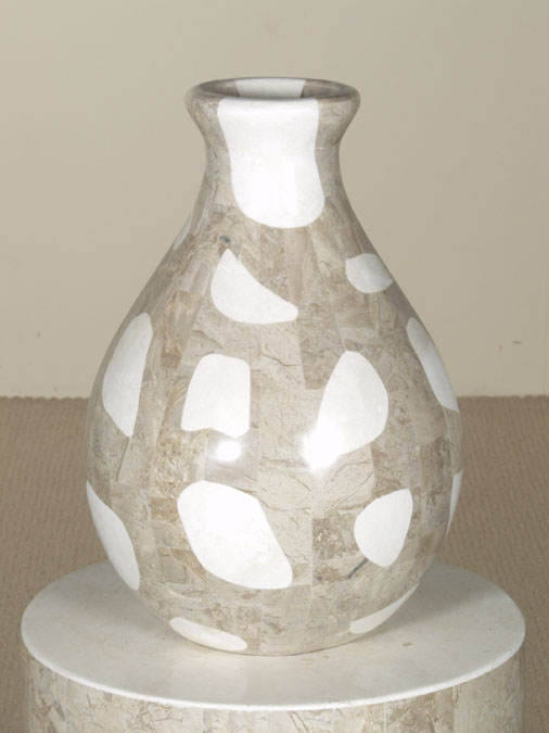 Waterdrop Shaped Vase, Large, 100% NATURAL Inlaid White Ivory Stone w/Cantor Stone