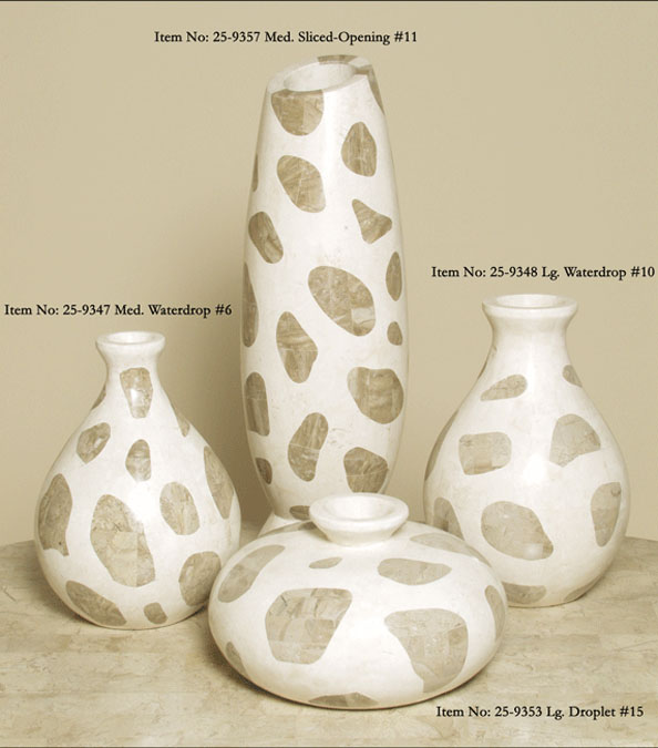 Waterdrop Shaped Vase, Small, White Ivory Stone with Cantor Stone (Formerly #23-9346)
