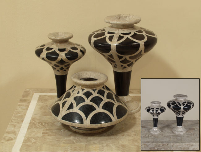 Circles Vase, Large, 100% Natural Inlaid Cantor Stone with Black Stone