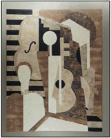 Musicians Mural Wall Art Decor, Embossed Finish, Beige Fossil/White Ivory/Wood Stone/Cantor Stone (formerly #203-3300)