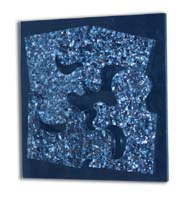 Puzzle Wall Art Decor, Blue Agate Seashell on Black Stone background (formerly #19-3400)
