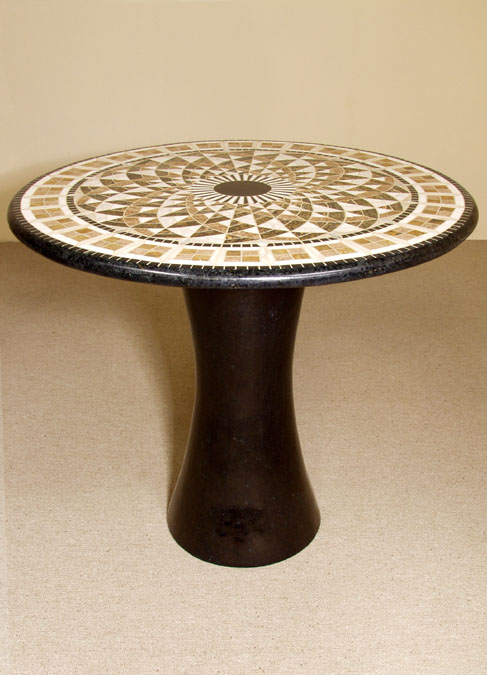 Legacy' Bistro Occasional Table, Round, Black Stone with Mosaic Stone Top
