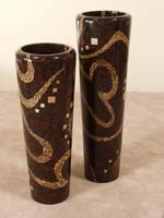 Sophisticate Jar, Short, Coco Roots/Cracked Bamboo/Honeycomb Cane Leaf/Cantor Stone Finish