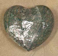 Heart Sculpture, Cracked Abalone Seashell Finish