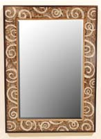 Curls Mirror Frame, Cracked Bamboo/Cantor Stone/Dark Banana Bark/Honeycomb Finish