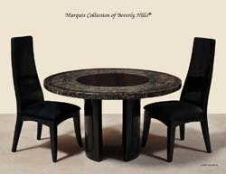 Bora Bora Round Dining Table, Barley Vine & Fern Tassel Finish with Black Stone