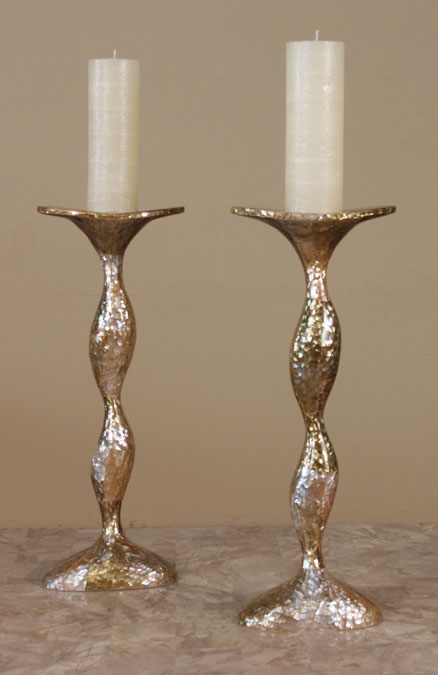 Sway Candleholder, Cracked Brown Lip Seashell Finish (Set of 2)