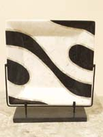 Euphoria Square Plate on Iron Stand, White Ivory Stone/Black Stone/Beige Fossil stone
