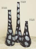Teardrop Shaped Vase, Small, 100% Natural Inlaid Black Stone with GreyStone